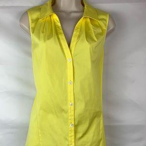 Lafayette 148 yellow sleeveless button blouse